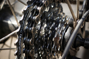Close-up of a rear bike gear cassette