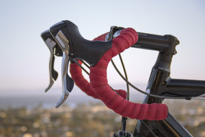 Close-up of drop handlebars on a road bicycle