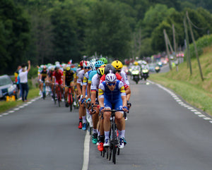 View from the front of a peloton of cyclists at the Tour de France