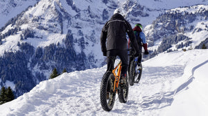 Two mountain bikers climbing up a snowy mountainside
