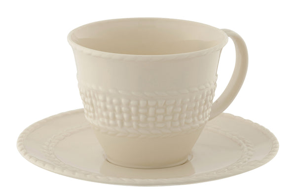 Belleek Galway Weave Teacup & Saucer