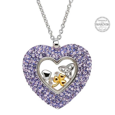 TRINITY HEART PENDANT WITH CHARMS AND SWAROVSKI CRYSTALS
