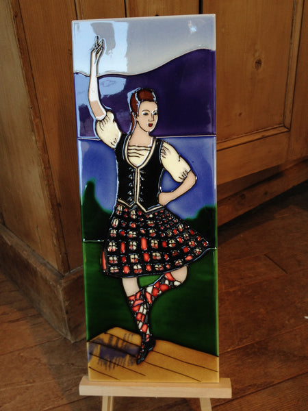 Highland Dancer Hand Painted Ceramic Tile