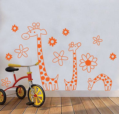 Bright Giraffe & Flowers Wall Decal (Large)