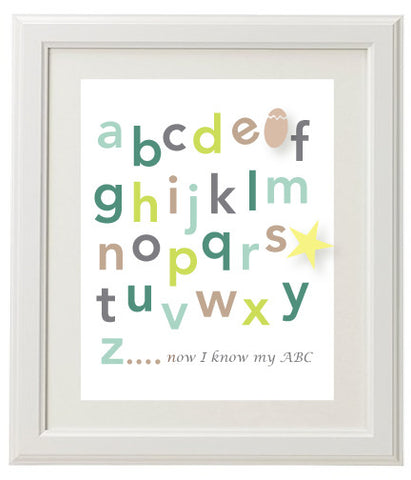 Alphabet Wall Print - Green