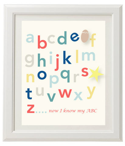 Alphabet Wall Print - Pale Yellow