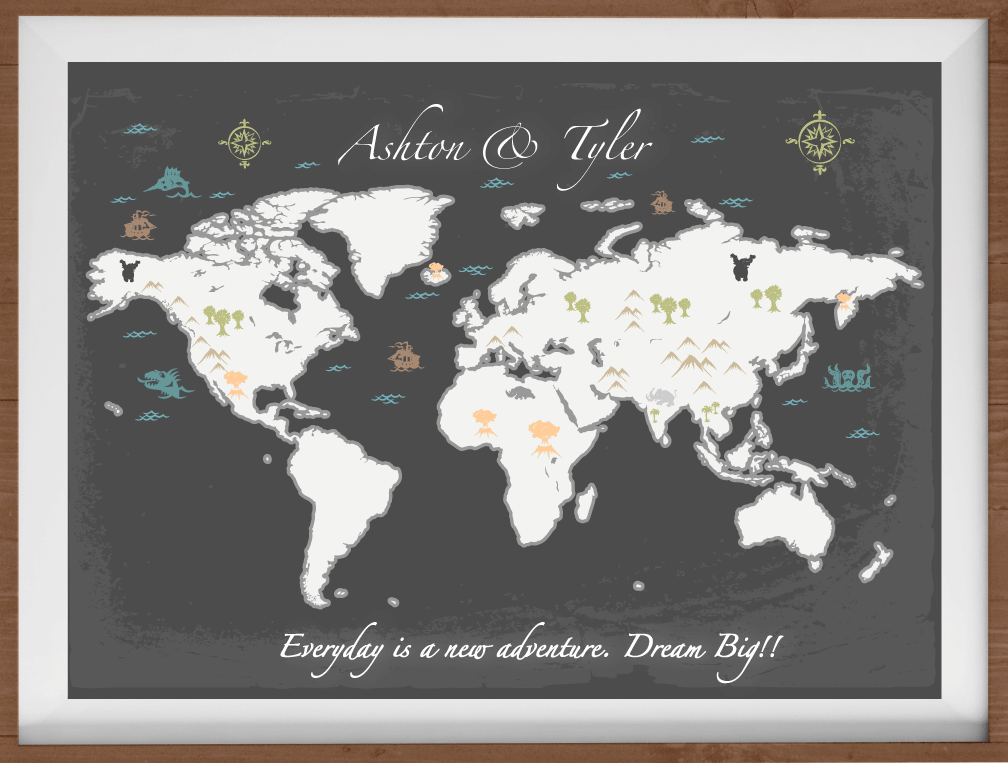Large World Map Print