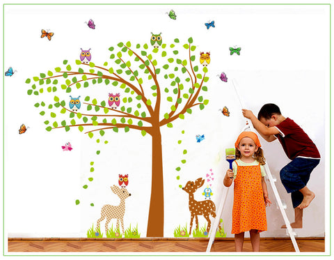 Owl Tree & Deer Wall Decal (Large)