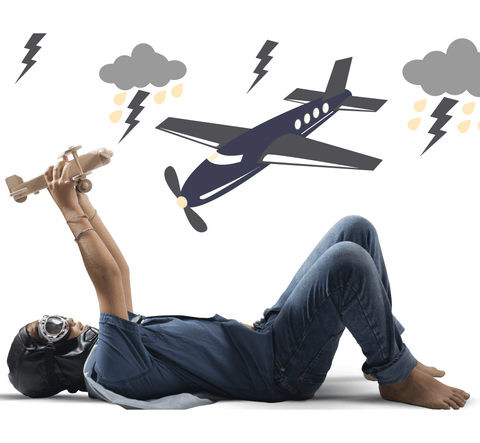 Lightening Bolts & Plane Wall Decal
