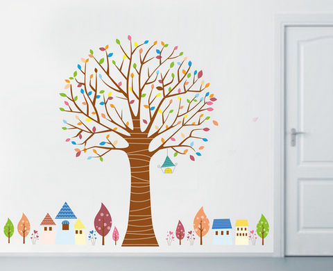 Colourful Tree & Mini Village Wall Decal (Extra Large)