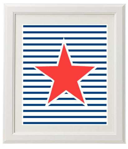 Stripey Star Wall Print