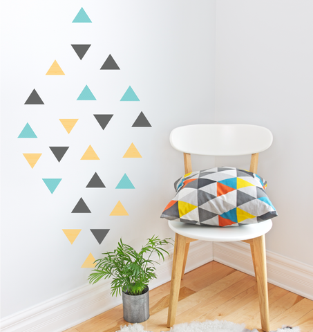 Triangles, Blue, Yellow & Grey Wall Decal
