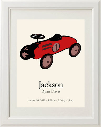 Retro Car Personalised Birth Print
