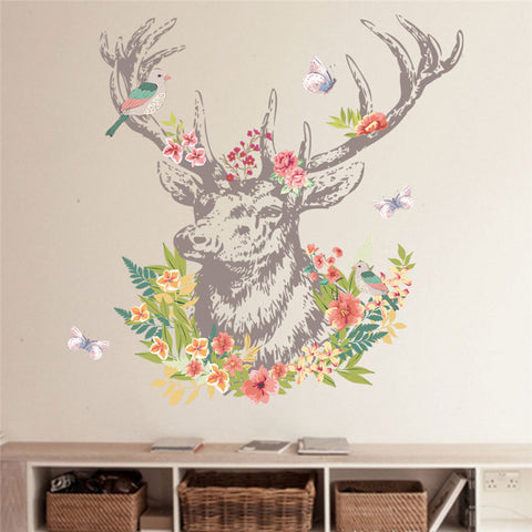 Vintage Deer Bird Flower Butterfly Wall Stickers