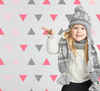 Triangles, Pink & Grey Wall Decal