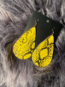Yellow Snakeskin Earrings