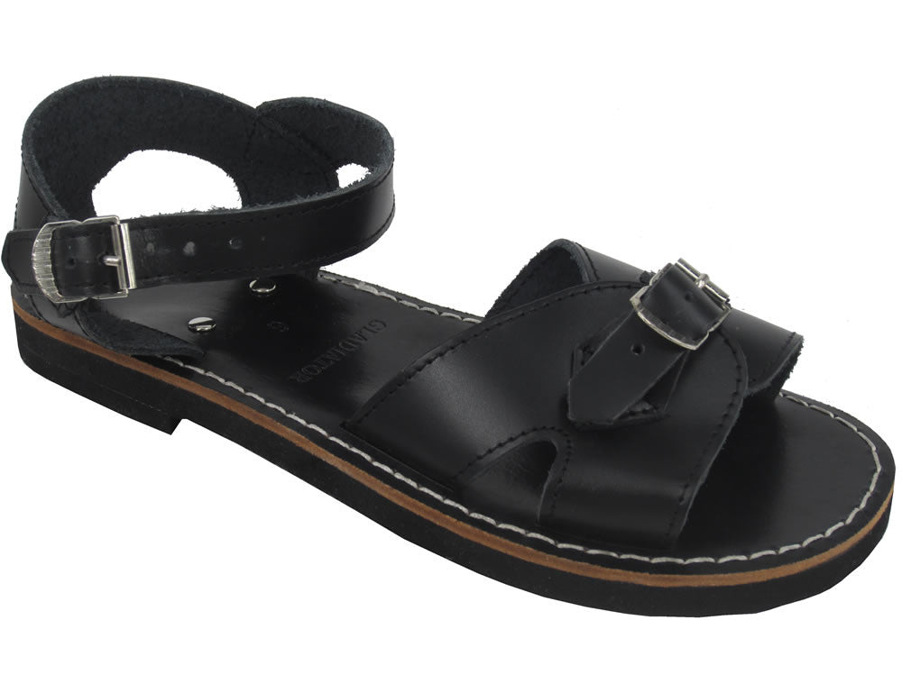 Roman School Leather Sandal - Black