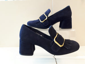 Bresley Samosa women's Leather Dress Shoes - navy blue suede