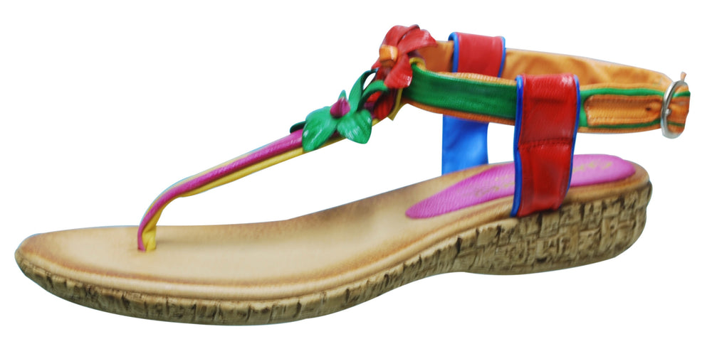 Colly Sundowner Rainbow Leather Sandal - Brown/Rainbow