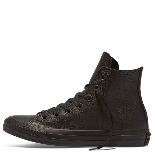 Chuck Taylor All Star Core Hi Monochrome Leather - Black 011d233cf