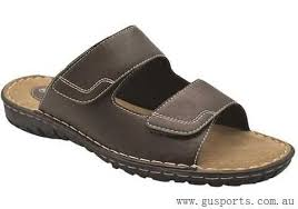 Grosby Jesse mens velcro sandals - brown
