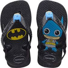 Kids Baby heroes Batman Jandals With Backstrap - black