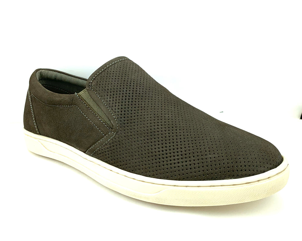 Jetta Mens Casual Leather Slip-On - Dark Grey
