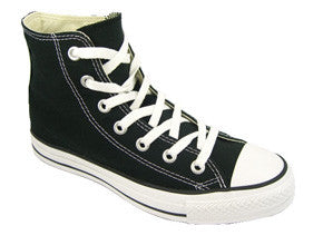 The classic Converse Chuck Taylor All Star Hi in youth sizes. black with white sole and laces
