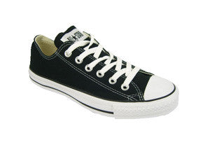 The classic Converse Chuck Taylor All Star ox in youth sizes. black with white sole and laces.