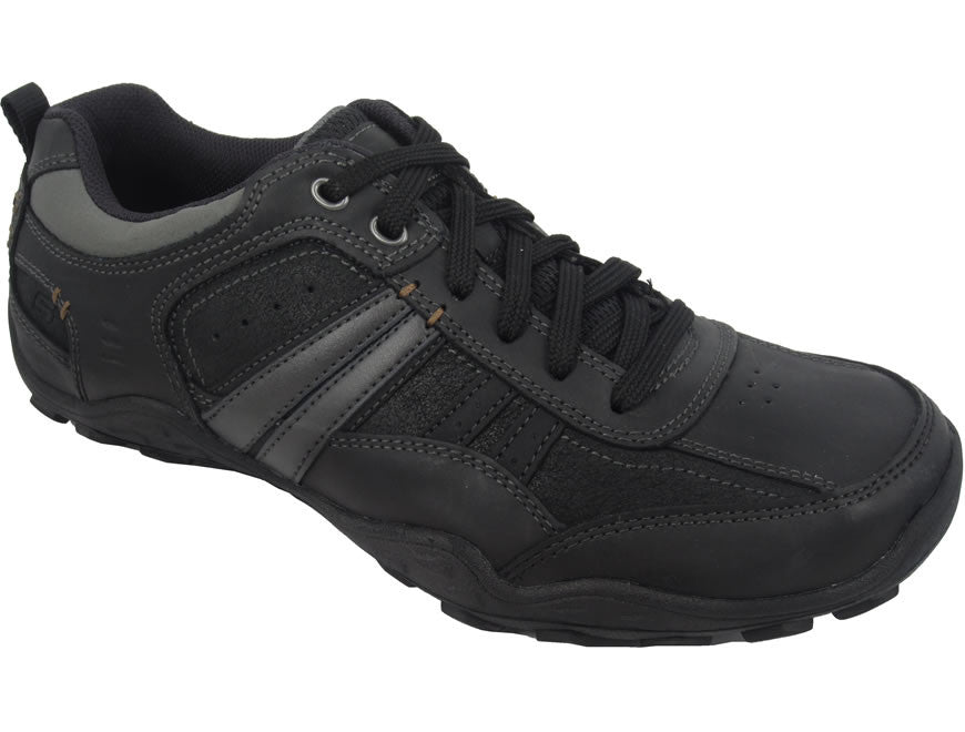 Skechers Pebble Galeno Lace-Up Mens Leather Casuals - Black