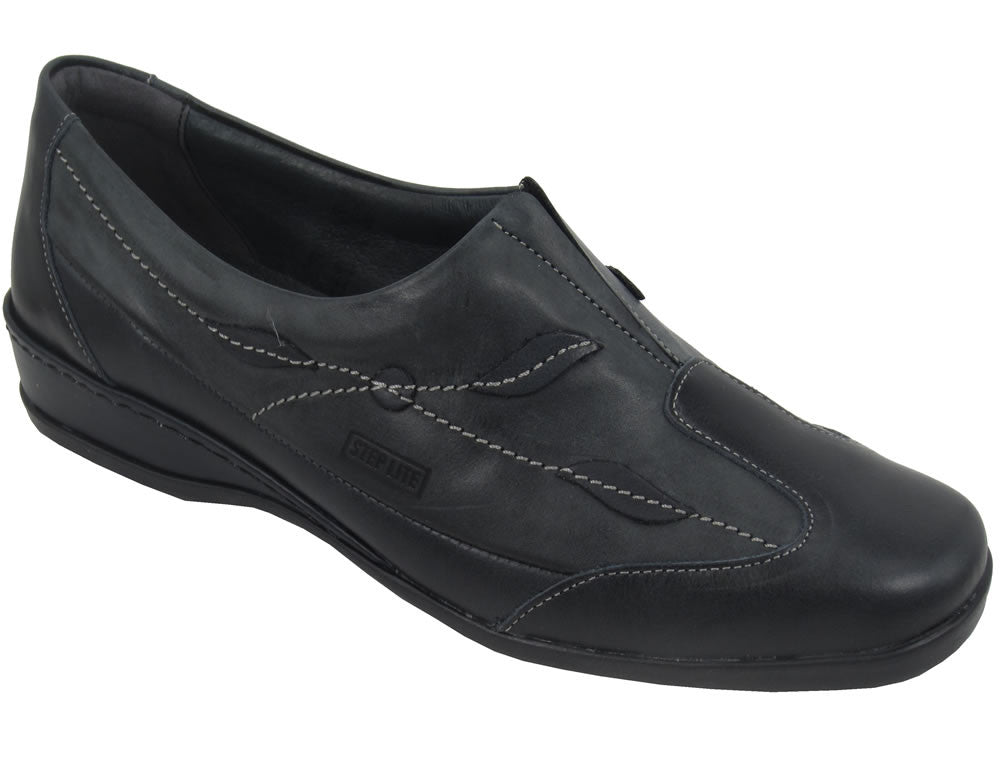 Step Lite Algarve Slip-On Womens leather Shoes - Dark Grey