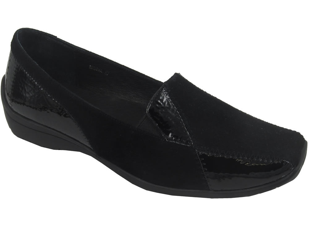 Medina womens fashion flats- black patent suede leather