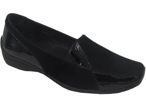Cassini Medina womens fashion flats- black patent suede leather