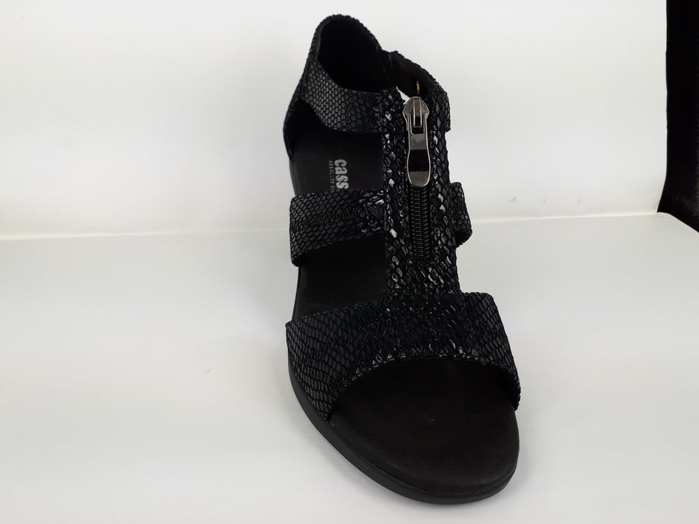 Metal black snake womens fashion sandals - black