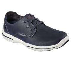 Harper Memory Foam Mens Leather Casuals - Navy Blue