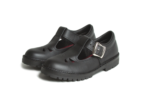 Rio Black  TBar buckle shoes- Black leather