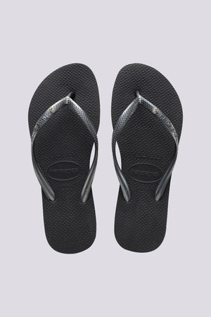 Havaianas Slim Crystal Dark Grey Womens Jandals