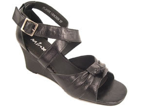 Classy Cracker Womens Leather Wedge Sandals- Black