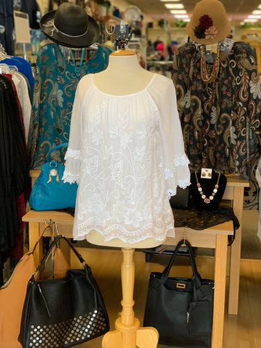Silks by Sara White Lace Shirt