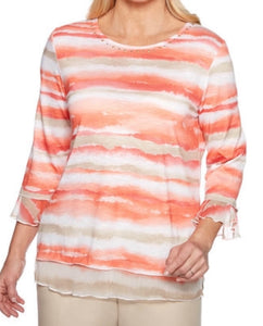 Alfred Dunner WATERCOLOR Strip Top PETITE
