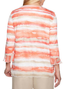 Alfred Dunner WATERCOLOR Stripe Top