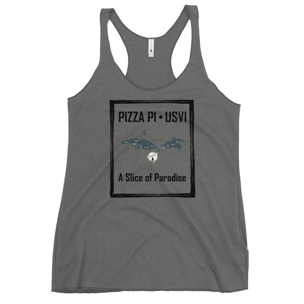 Pizza Pi Vintage USVI Map Women's Racerback Tank