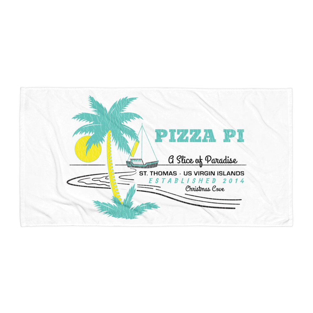 "Pizza Pi vintage-look ""Slice of Paradise"" Beach Towel"