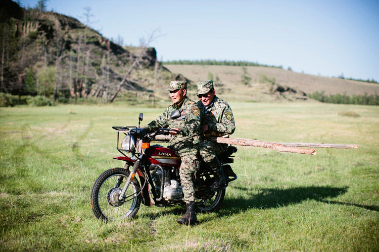 Two rangers collecting firewood. Motorcycle is the preferred means of travel in Mongolia.