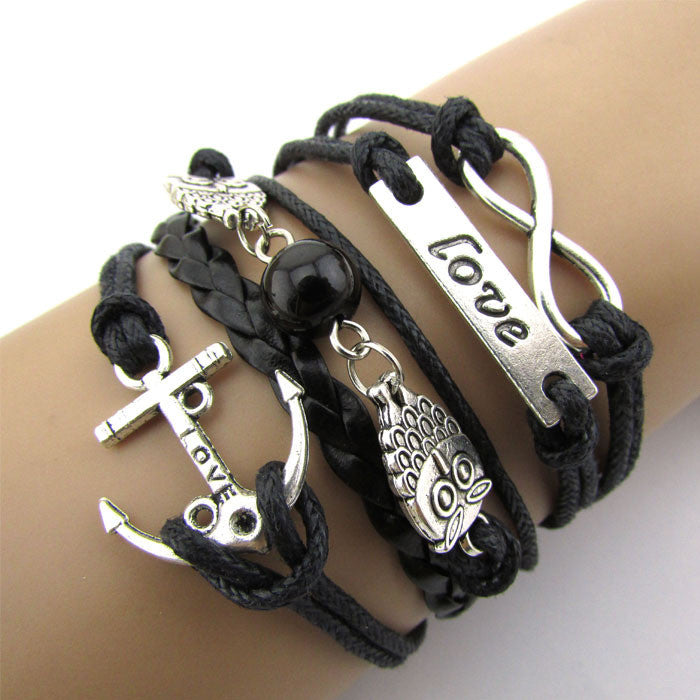 Exquisite Infinity Owl Love Anchor Friendship Leather Charm Bracelet Silver Cute