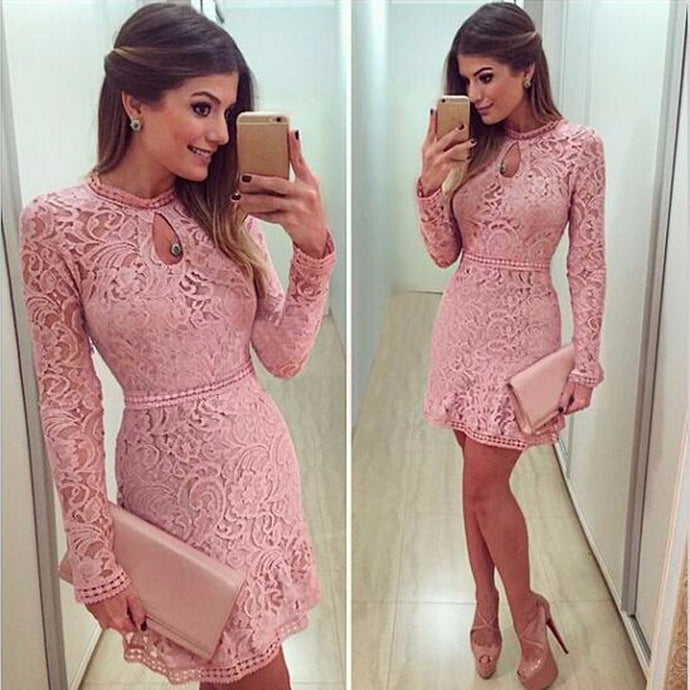 Women Sexy Pink Hollow Lace Long Sleeve Slim Dress Party Evening Dress