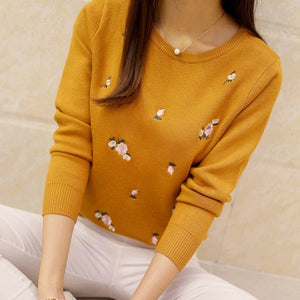 Women Embroidery Knitted Winter Sweater