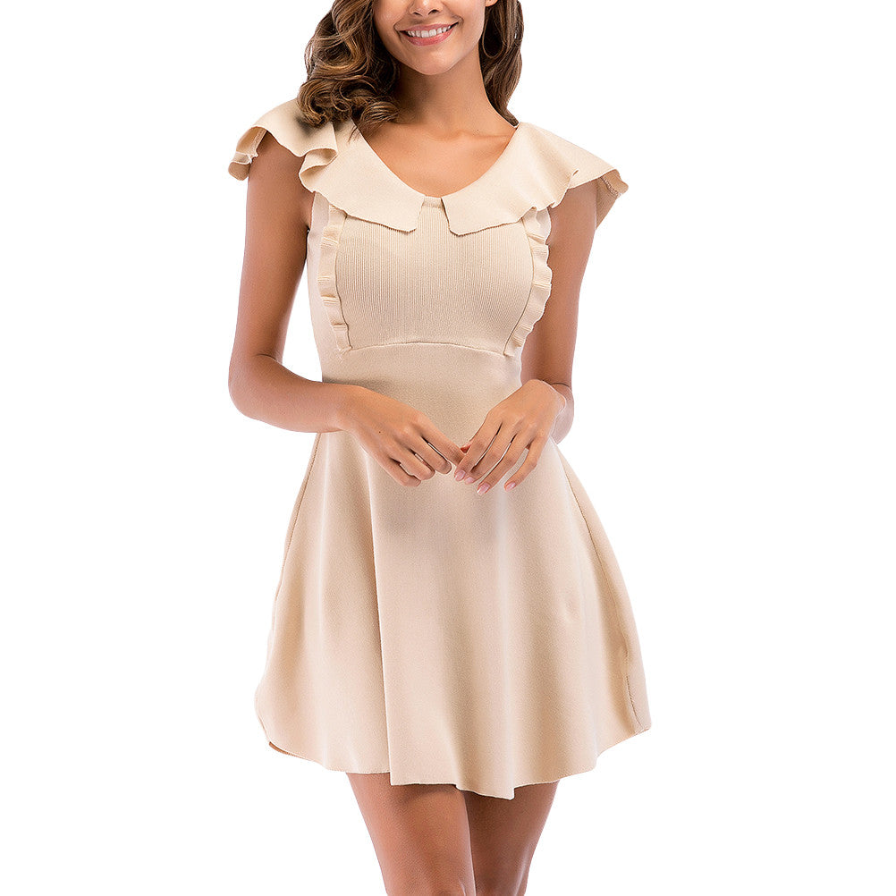 Women's Summer Casual Ruffles Collar One-Piece Dress Sleeveless Dress Knitting A-Line Dress