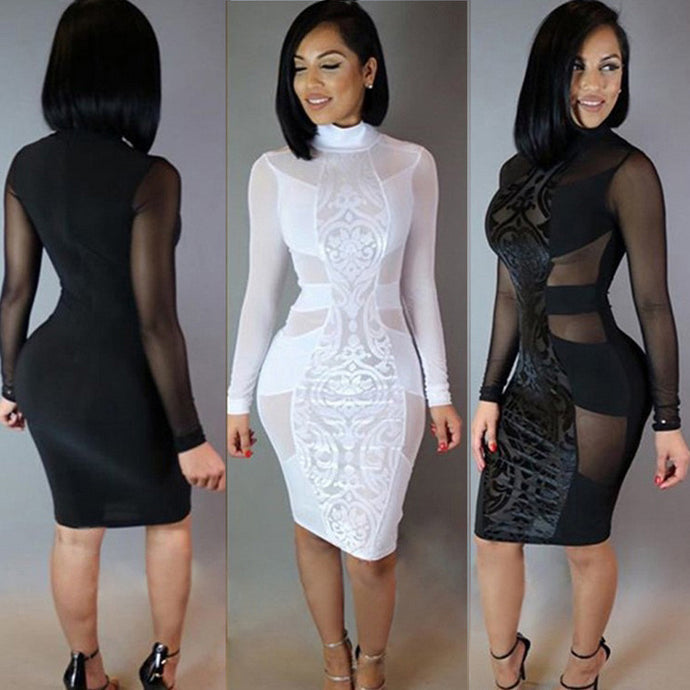 Fashion Womens Sexy Long Sleeve Solid Slim Fit Bodycon Perspective Club Dress