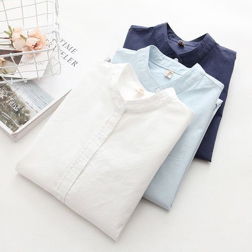 Long Sleeve White Blue Womens Oxford Shirts